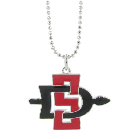 Large Red and Black SDSU Aztecs Necklace Pendant