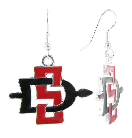 Red and Black San Diego State SD Fish Hook Earrings
