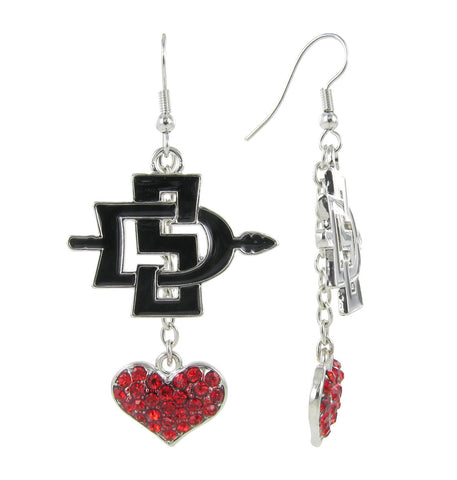 Black SDSU Lovers Fish Hook Earrings with Red Crystal Heart
