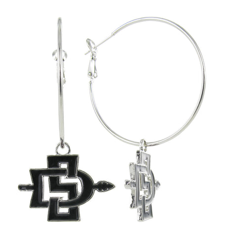 Black San Diego State SD Hoop Earrings