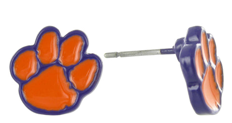 Mini Orange and Purple Clemson Paw Stud Earrings
