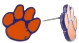 Small Orange and Purple Clemson Paw Stud Earrings