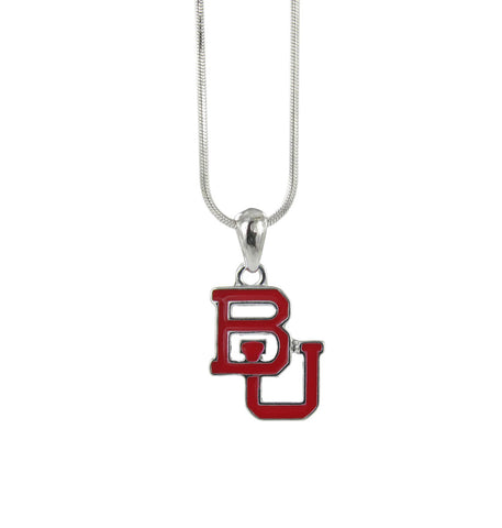 Boston University Red Enamel BU Logo Pendant Necklace