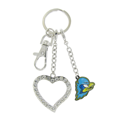 Multicolor Delaware Hens Love Key Chain with Clear Crystal Heart
