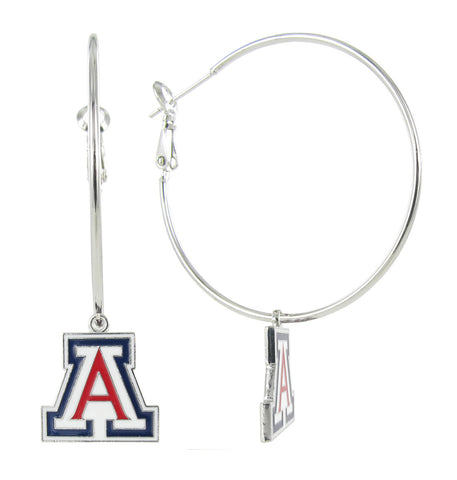 "Enamel Arizona ""A"" Hoop Earrings"