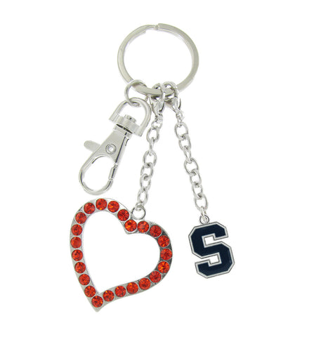 Navy Syracuse Love Key Chain with Orange Heart