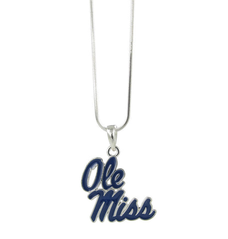 Navy Ole Miss Logo Pendant Necklace