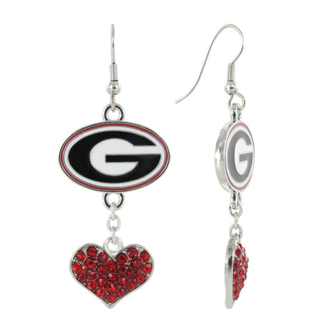 Georgia Love Fish Hook Earrings with Red Hearts