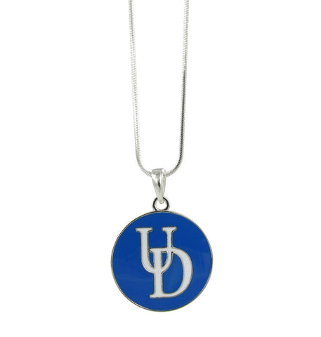 Royal Blue Metal Plated Delaware UD Pendant Necklace