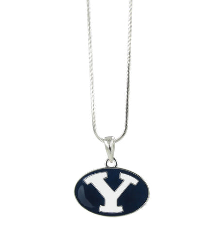 Navy Metal Plated BYU Oval Y Pendant Necklace