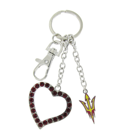 ASU Love Key Chain with Dark Red Heart