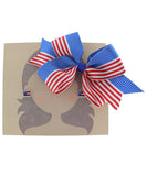 American Flag Ribbon Bow Hair Clip and Earrings Set