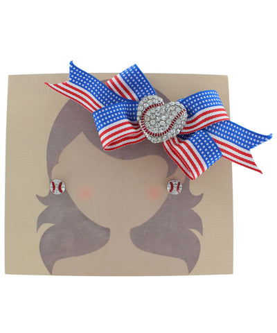 All American Baseball Bow and Earring Set