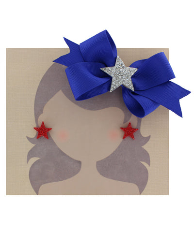Clear Crystal Star Royal Blue Ribbon Hair Clip and Red Crystal Star Earring Set