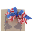 American Flag Ribbon Bow Hair Clip and Heart Earrings Set