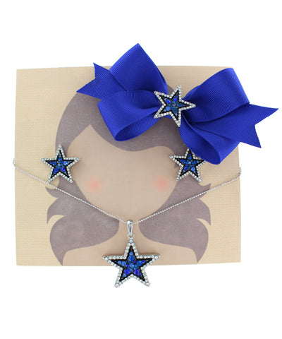 Blue Crystal Outline Star Ribbon Bow, Necklace, and Earring Set