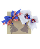American Flag and Confetti Star Bow Hair Clip Set