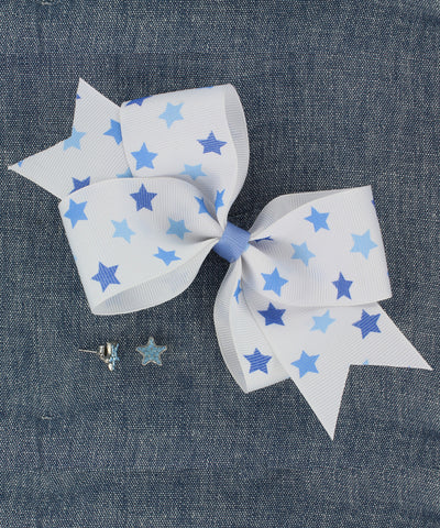 Blue Star Print Ribbon Bow and Stud Earring Set