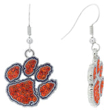 Orange Crystal and Purple Clemson Paw Fish Hook Earrings