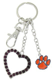 Orange Clemson Love Combo Key Chain with Purple Heart