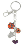 Orange Clemson Paw Basketball Combo Key Chain