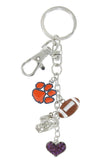 Orange Clemson Paw Football Combo Key Chain