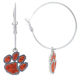Orange Crystal and Purple Clemson Paw Hoop Earrings