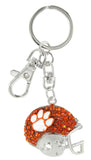 Orange Crystal Clemson Football Helmet Key Chain