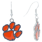 Orange Enamel Clemson Paw Logo Fish Hook Earrings