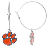 Orange Enamel Clemson Paw Logo Hoop Earrings