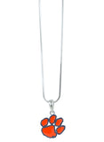 Orange Enamel Clemson Paw Logo Pendant Necklace