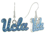 Light Blue Crystal UCLA Logo Fish Hook Earrings
