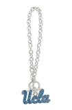 Light Blue Crystal UCLA Logo Toggle Chain Bracelet