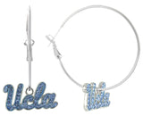 Light Blue Crystal UCLA Logo Hoop Earrings