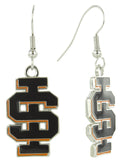 Black Enamel Idaho State IS Logo Fish Hook Earrings