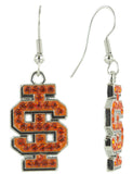 Orange Crystal Idaho State IS Logo Fish Hook Earrings