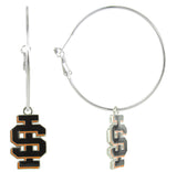 Black Enamel Idaho State IS Logo Hoop Earrings