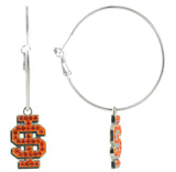 Orange Crystal Idaho State IS Logo Hoop Earrings