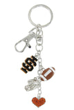 Black Idaho State IS Football Combo Key Chain with Orange Heart