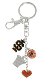 Black Idaho State IS Basketball Combo Key Chain with Orange Heart