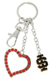 Black ISU Love Combo Key Chain with Orange Heart