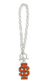 Orange Crystal Idaho State IS Logo Toggle Chain Bracelet