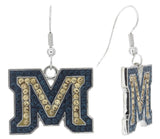 Crystal Montana State M Fish Hook Earrings