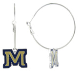 Enamel Montana State M Hoop Earrings