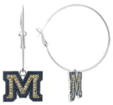 Crystal Montana State M Hoop Earrings