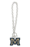 Crystal Montana State M Toggle Chain Bracelet