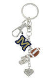 Montana State M Football Combo Key Chain with Clear Heart