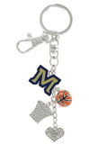 Montana State M Basketball Combo Key Chain with Clear Heart