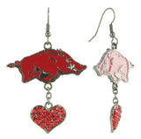 Arkansas Razorbacks Love Fish Hook Earrings with Red Hearts