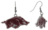 Dark Red Crystal Arkansas Razorbacks Logo Fish Hook Earrings